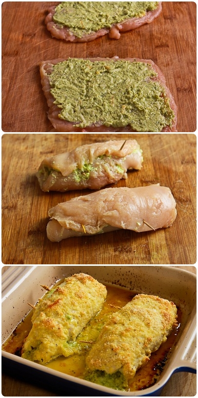 Baked Chicken Stuffed with Pesto and Cheese : I Love To Cook