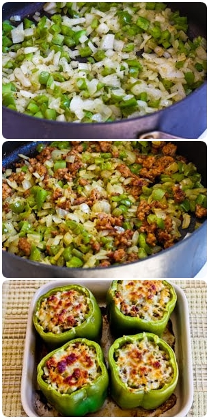 Stuffed Green Peppers with Brown Rice, Italian Sausage and Parmesan 1 ...